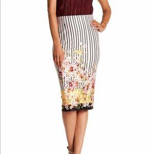 ECI Print Pinstripe Floral Skirt 🌸